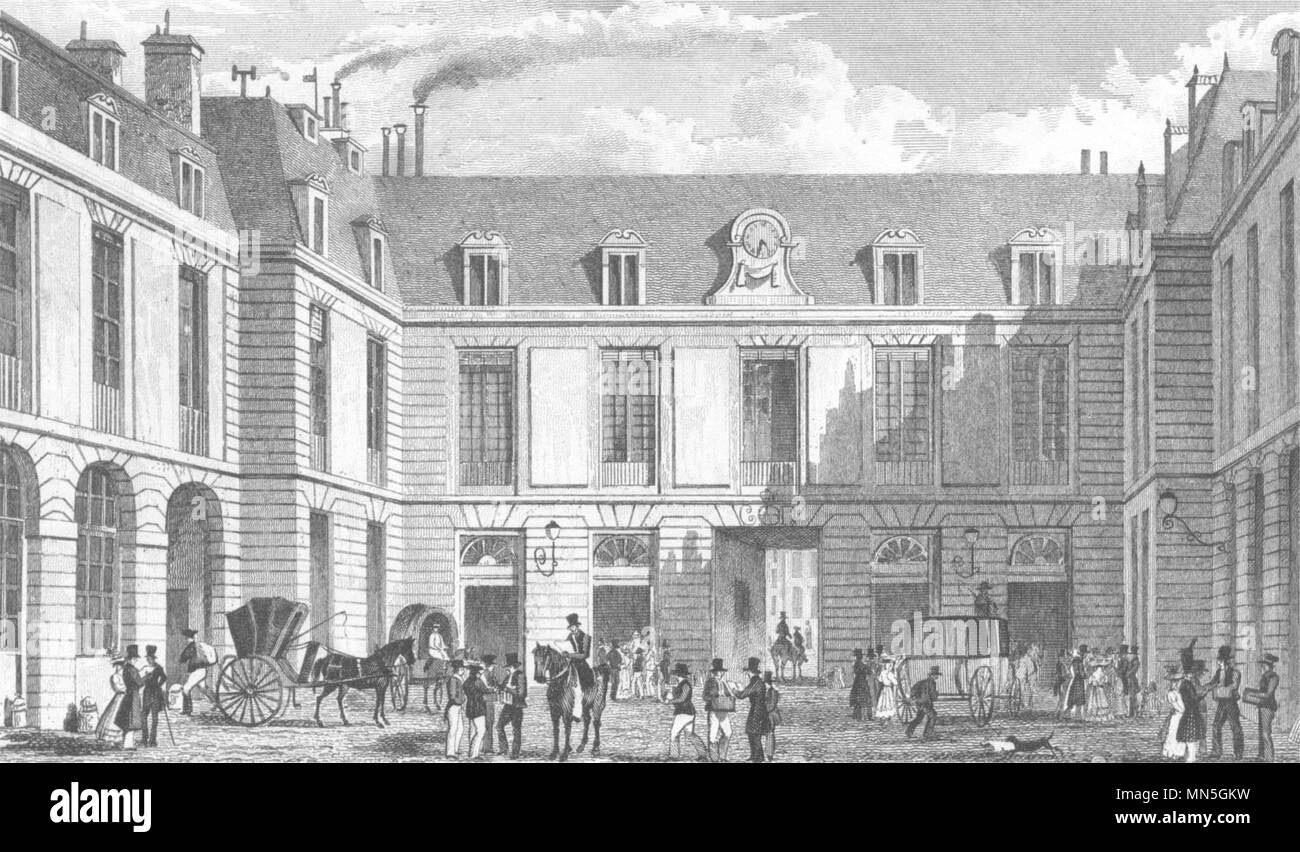 Paris. grand bureau de la poste 1831 old antique vintage print
