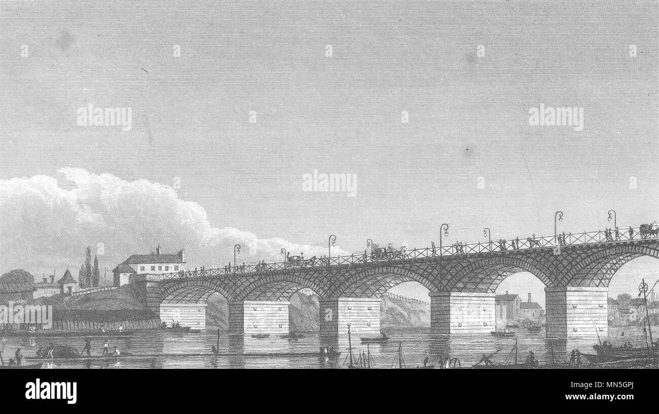 PARIS. Pont D' Slavkov u Brna (Austerlitz)  1831 old antique print picture - Stock Image