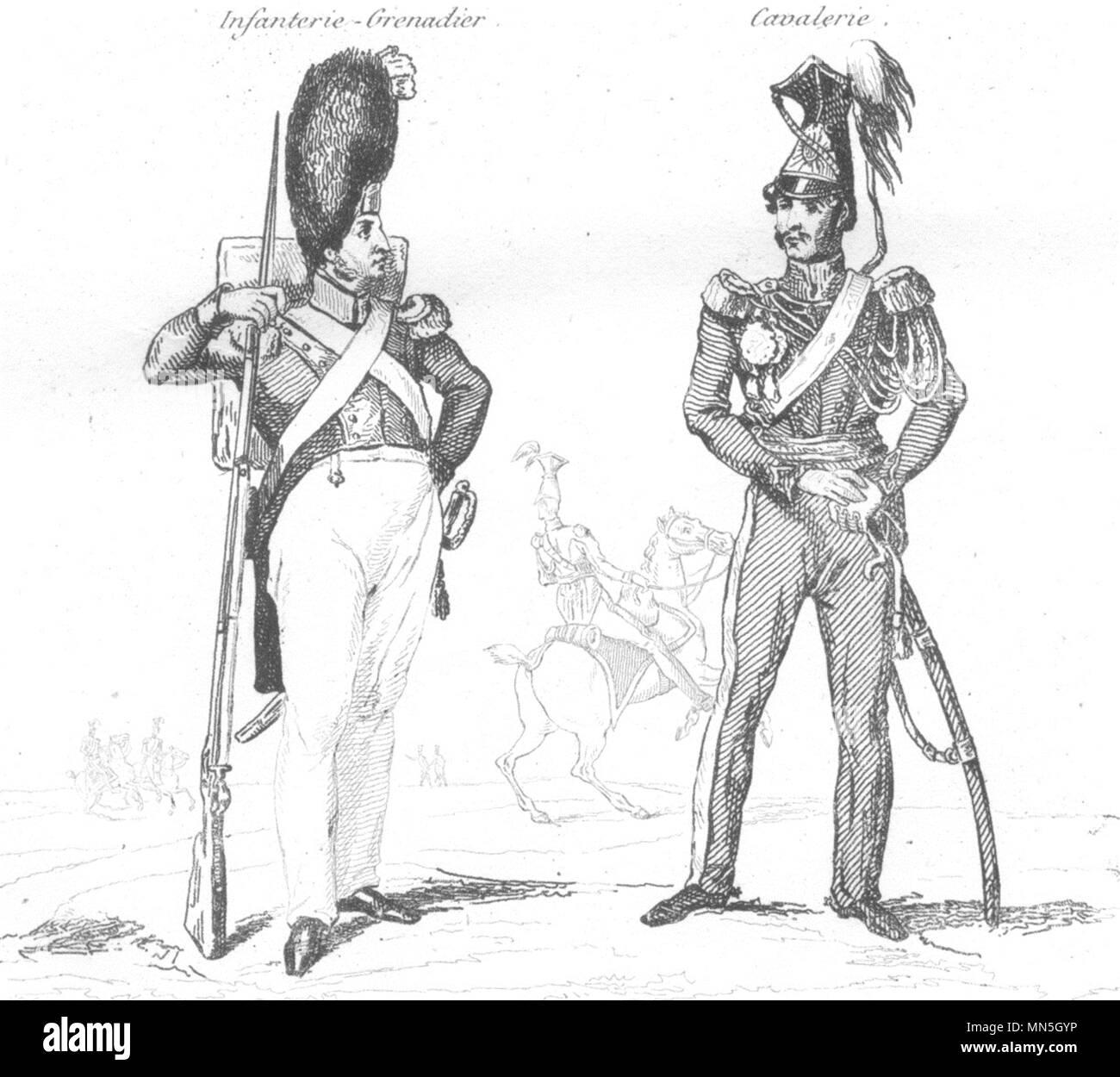 FRANCE. Garde Nationale en 1834 1835 old antique vintage print picture - Stock Image