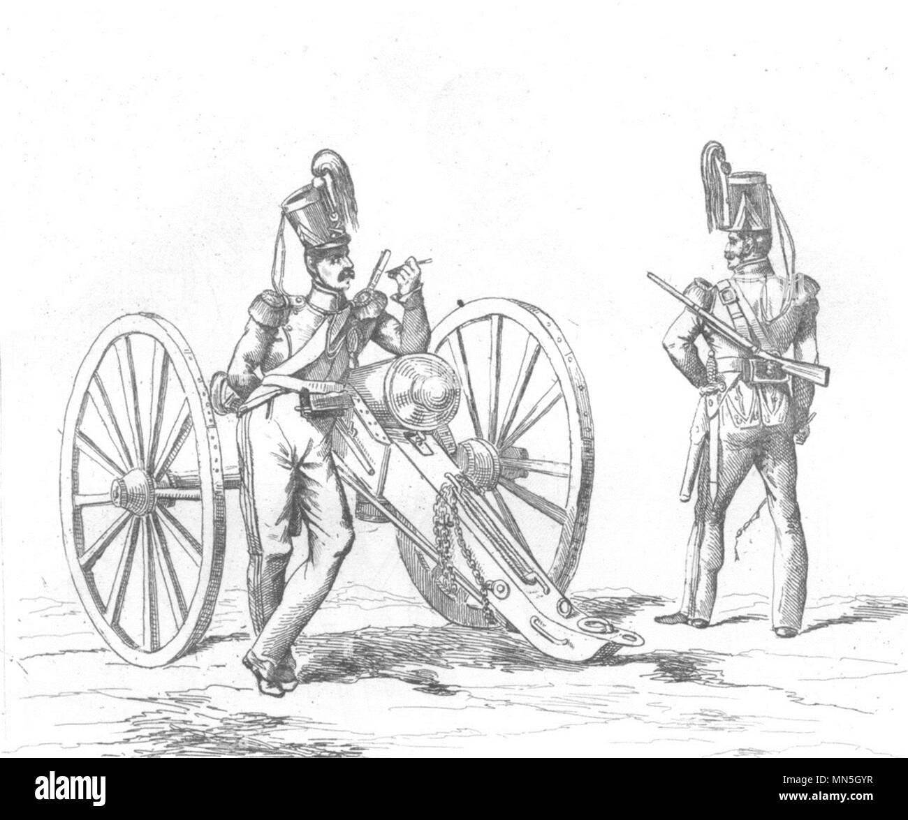 FRANCE. Troupes Françaises en 1834 Artillerie 1835 old antique print picture - Stock Image