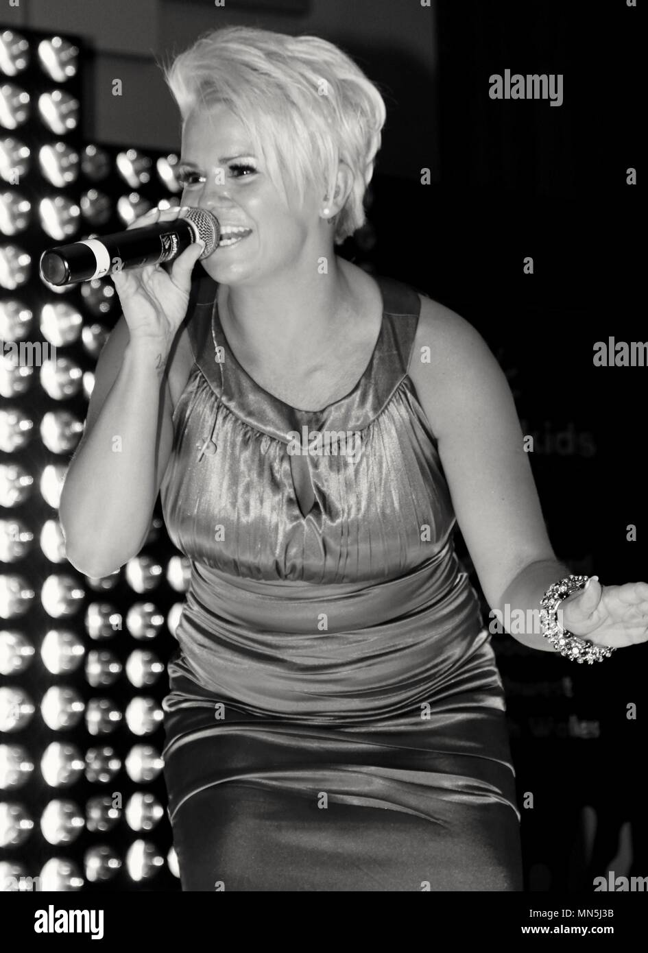 Liverpool,Uk, Kerry Katona performs solo for charity cash 4 kids in Liverpool, Credit Ian Fairbrother/Alamy - Stock Image