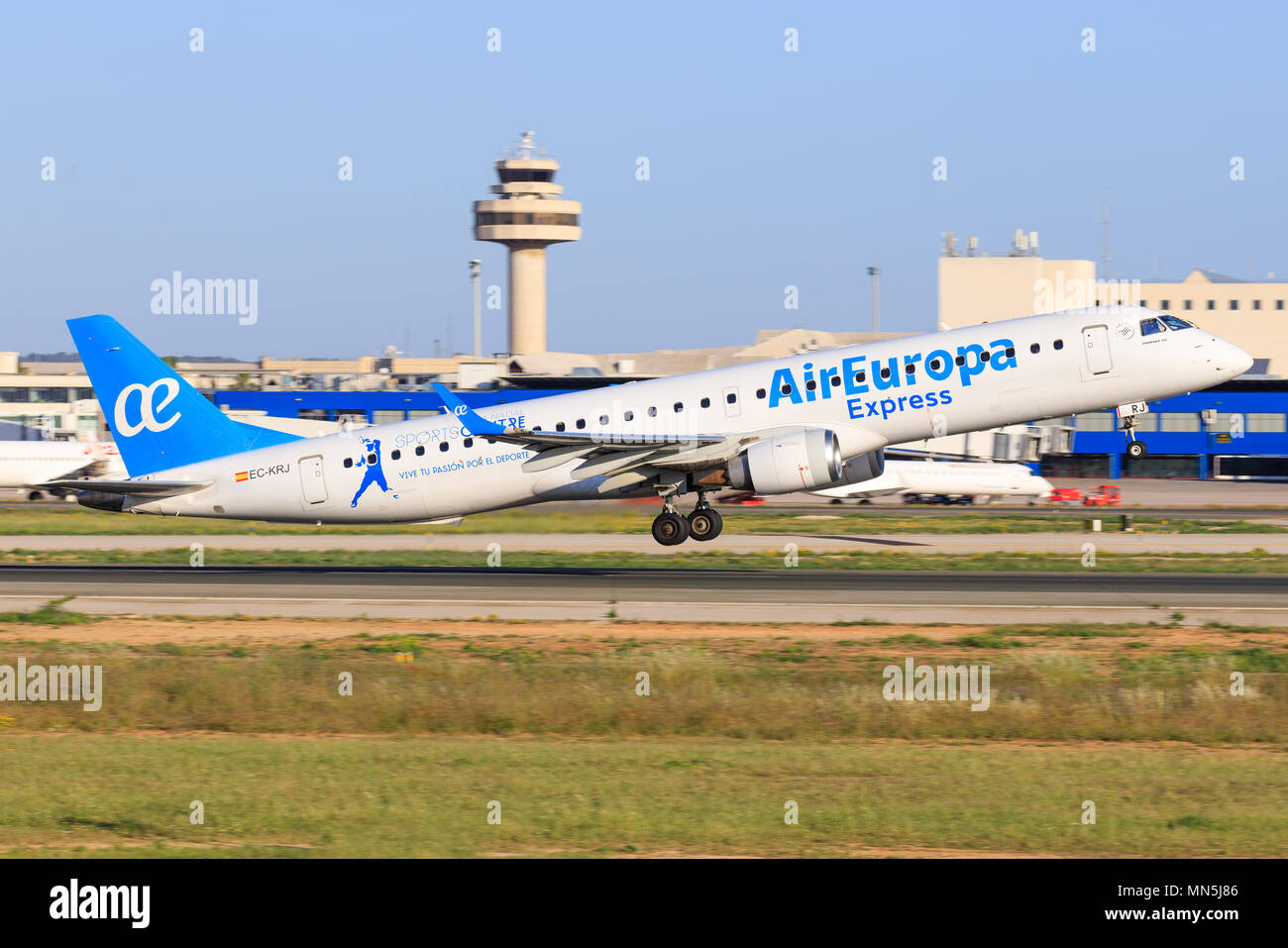 Mallorca, Spain Mai 18 2018: BEmbraer from air europa landing on the beautiful island in Spain - Stock Image