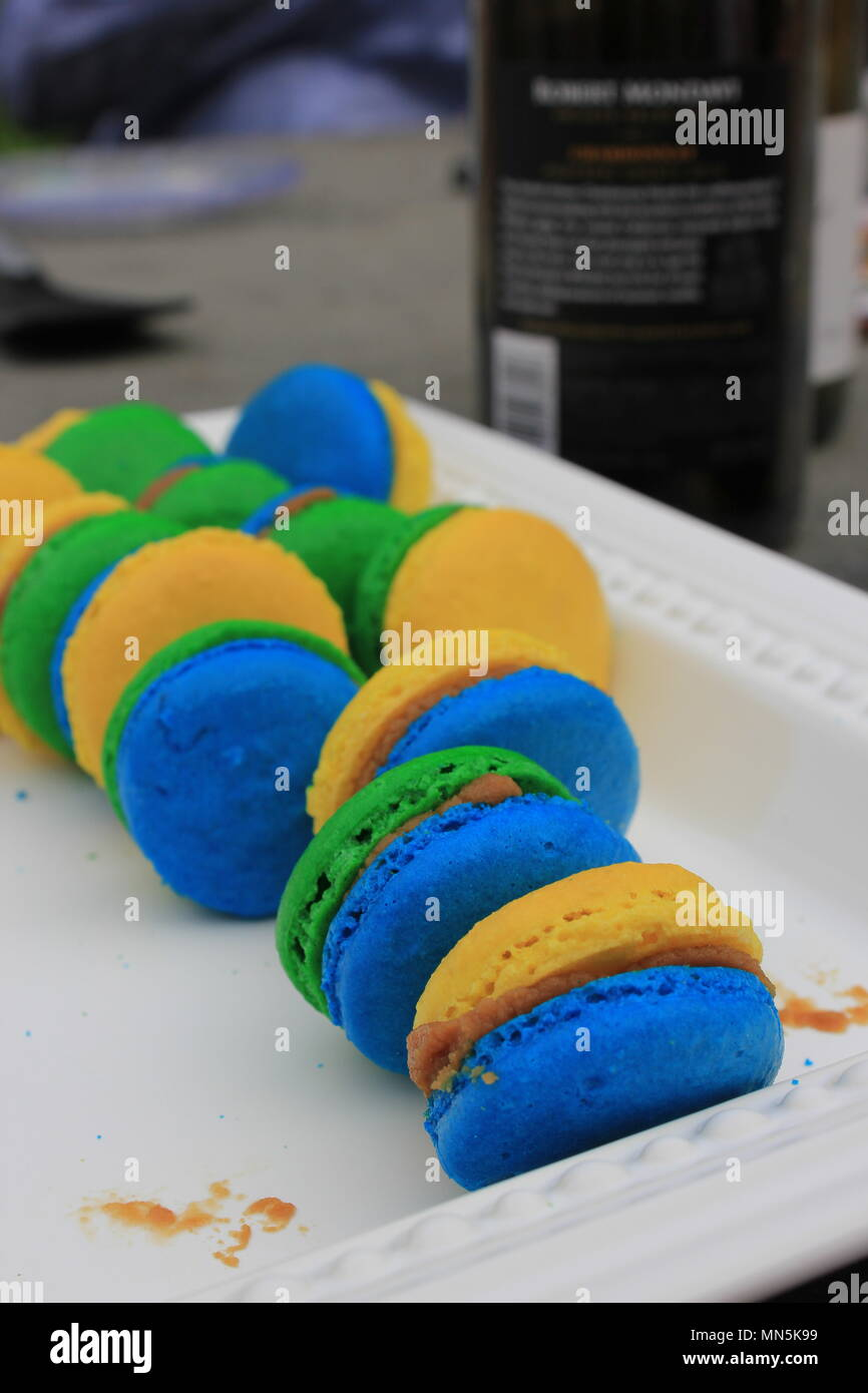 Delicious Colorful And Fresh Homemade French Macaron Cookies Served In A Platter During Mother S Day In Downers Grove Illinois Stock Photo Alamy