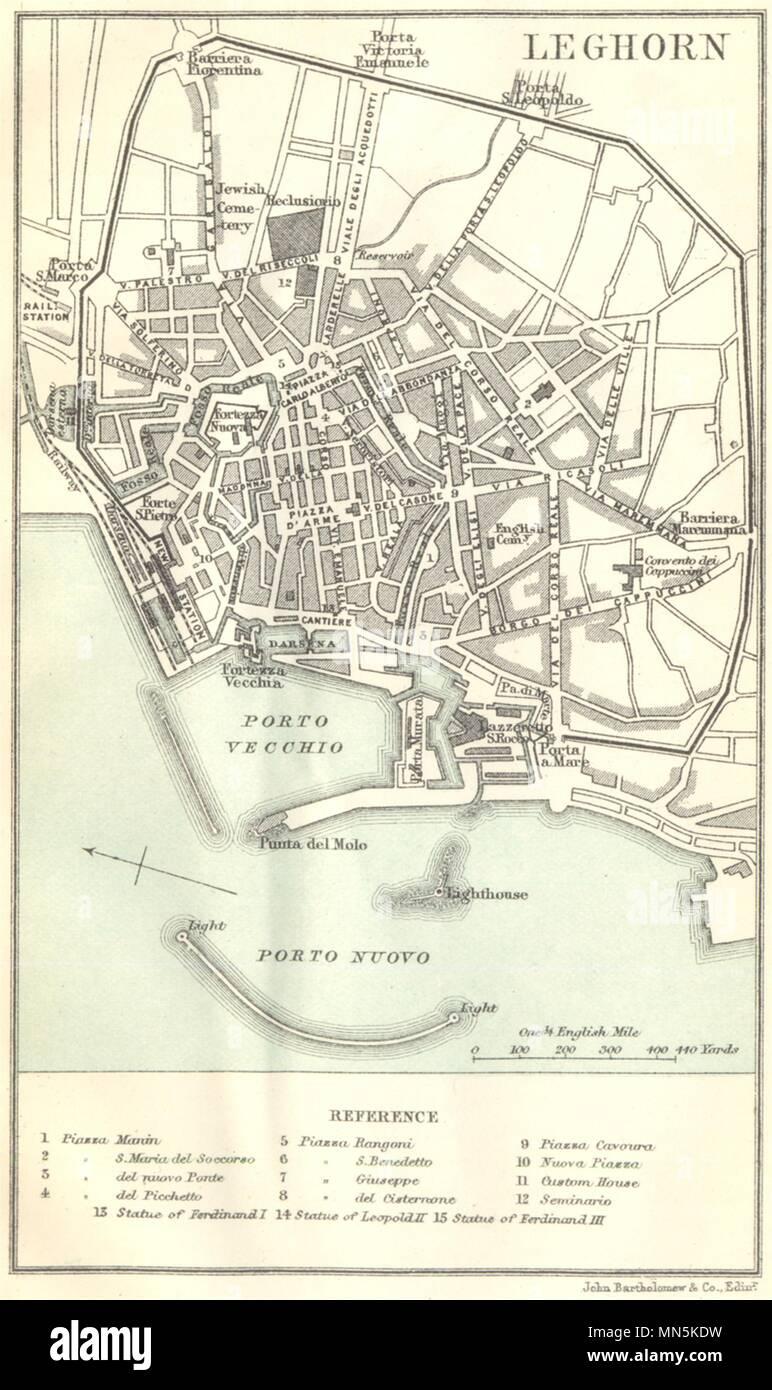 Italy Livorno Leghorn 1888 Old Antique Vintage Map Plan