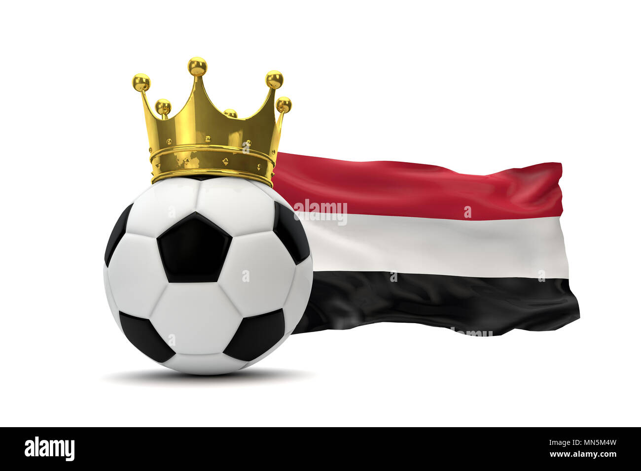 Yemen flag and soccer ball with gold crown. 3D Rendering - Stock Image