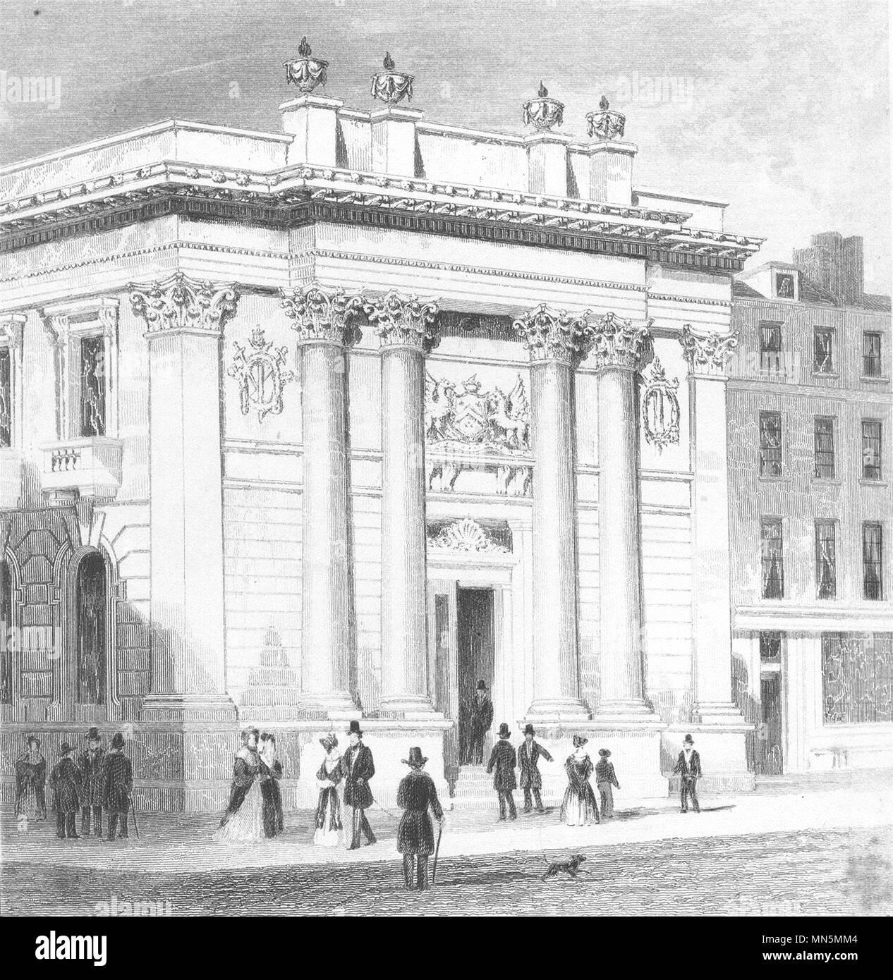 HOLBORN. The new Gresham College. London. DUGDALE c1840 old antique print - Stock Image