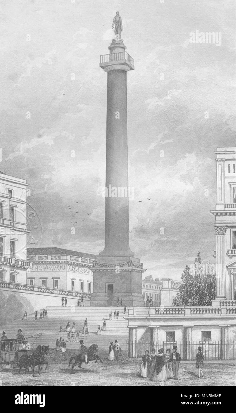 ST JAMES'S. The Duke of York's column from St James's Square. DUGDALE c1840 - Stock Image