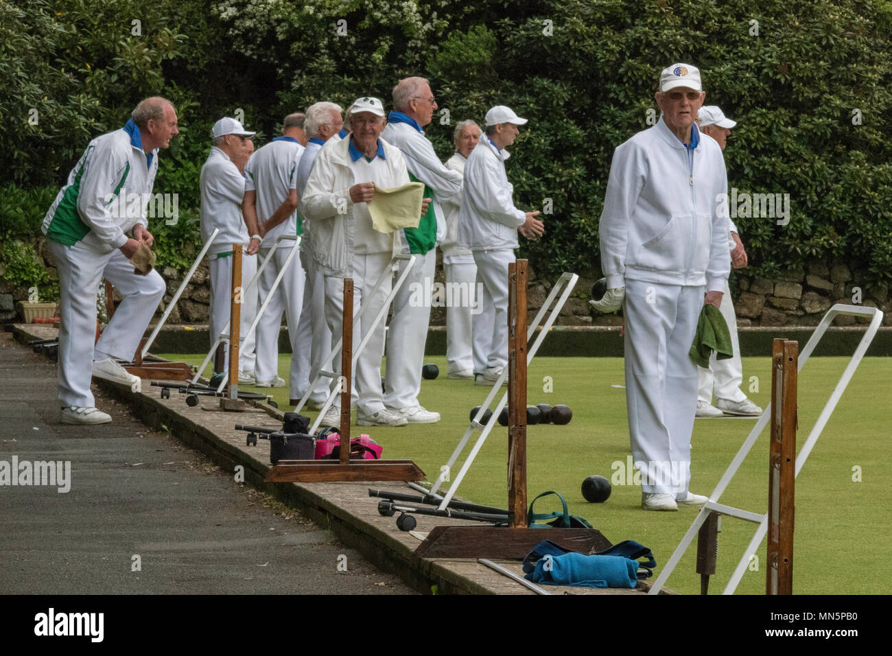 a number of elderly retired gentlemen playing lawn bowls on a bowling green dressed in whites. - Stock Image