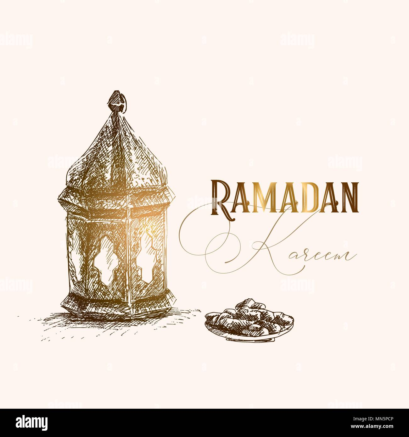 Greeting card invitation for muslim holiday ramadan kareem hand greeting card invitation for muslim holiday ramadan kareem hand drawn pen sketch of arabic lantern and plate with date fruit iftar party design m4hsunfo