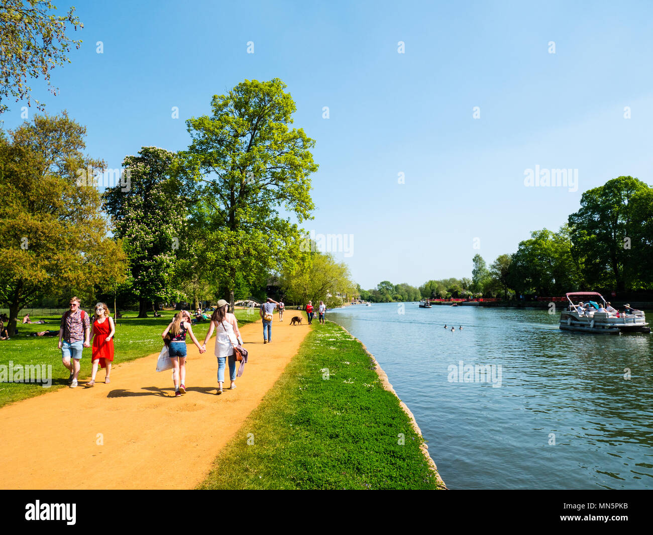 People Walking, Summer Day, Christchurch Meadow Walk, River Thames, Oxford, Oxfordshire, England, UK, GB. - Stock Image