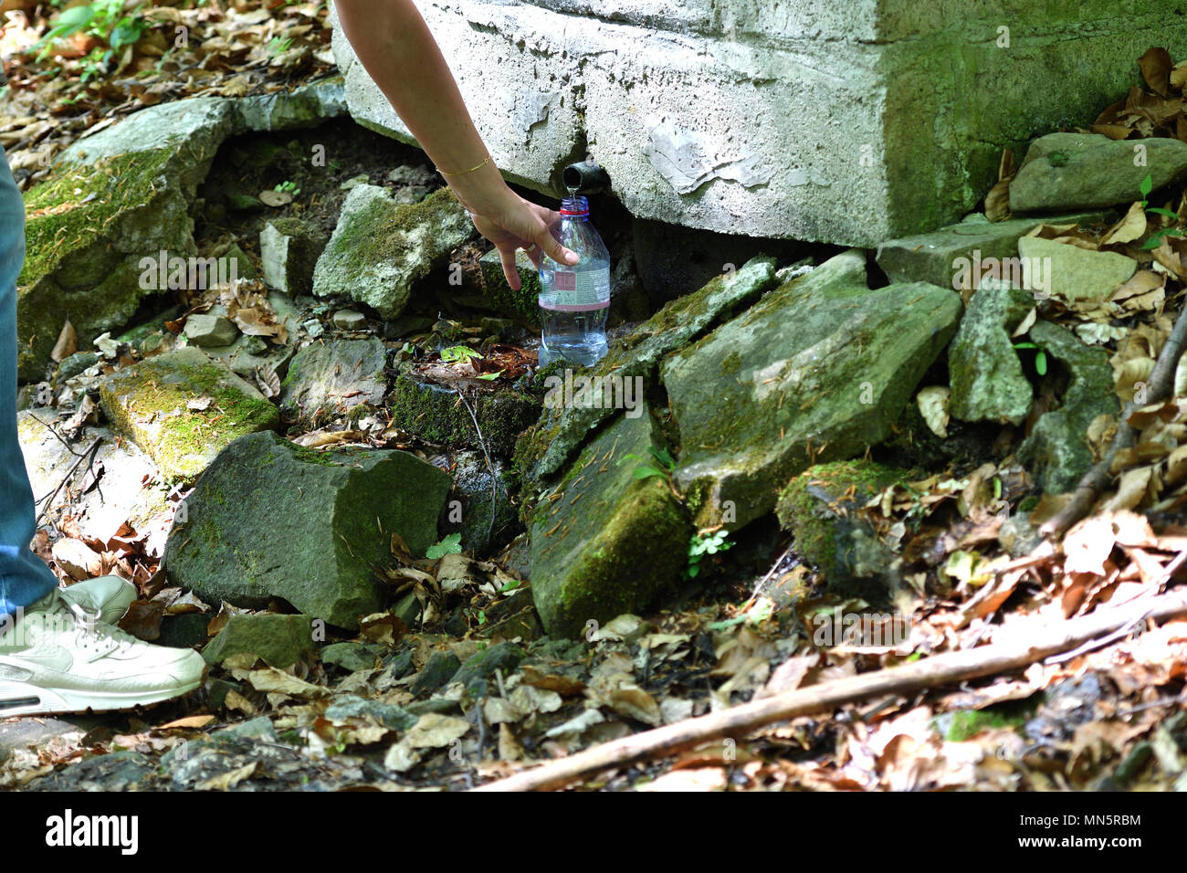woman is pumping fresh forest water - Stock Image