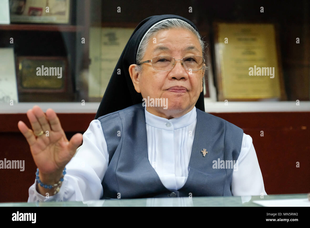 Sister Chriszenzia 'Chris' Lucero, Chairwoman of the Task Force Detainees for the Philippines TFDP, Manila, The Philippines - Stock Image