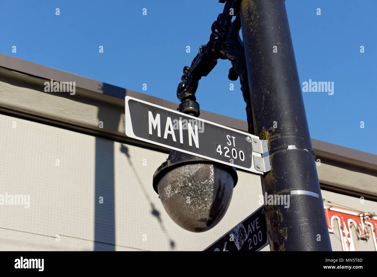 Close up of a street sign on Main Street in Vancouver, BC, Canada - Stock Image