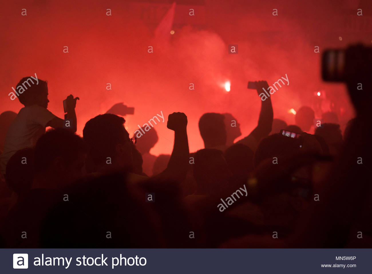 Red hooligans - Stock Image