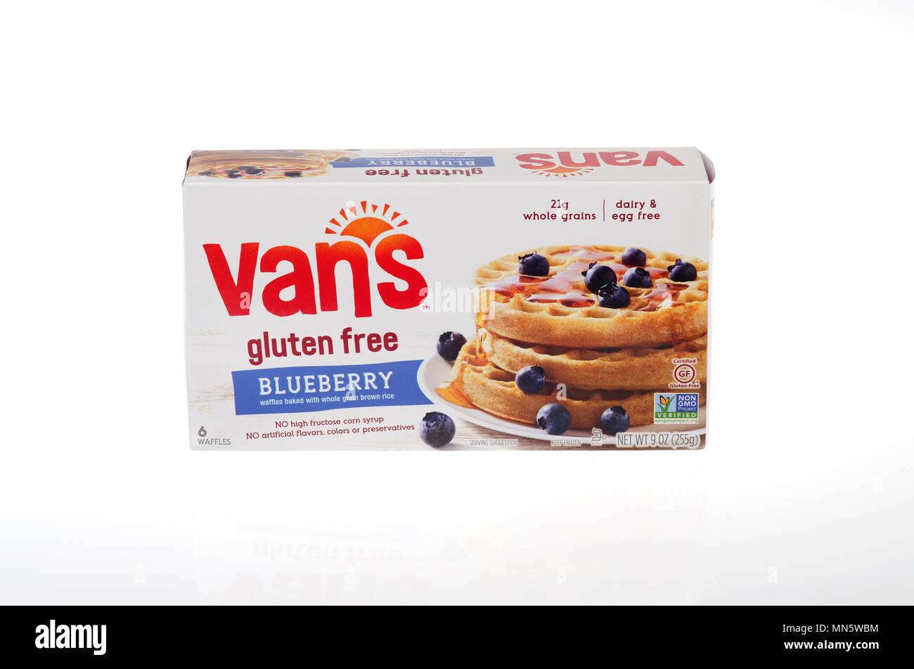 Box of Vans Gluten Free Frozen Blueberry Waffles - Stock Image