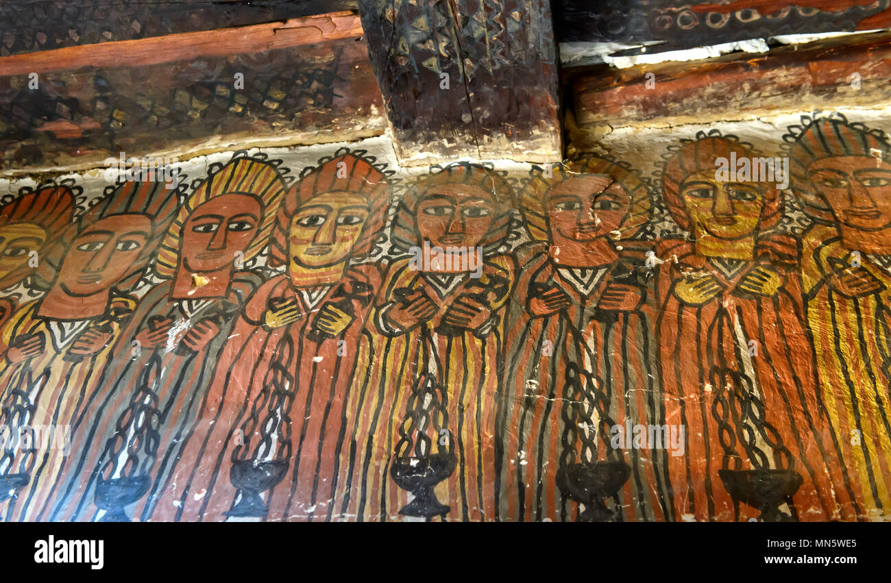 The Elders of the Apocalypse, north wall in the nave of the church Petros and Paulus Melehayzengi, Tigray, Ethiopia - Stock Image