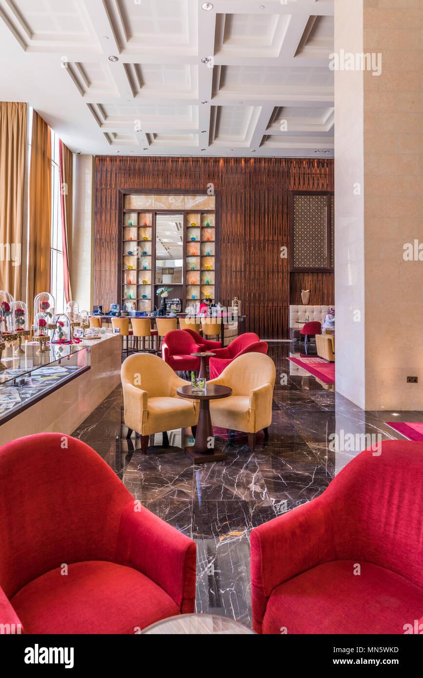 The interior furnishing of the Raffles Hotel in Dubai, UAE, Middle East - Stock Image