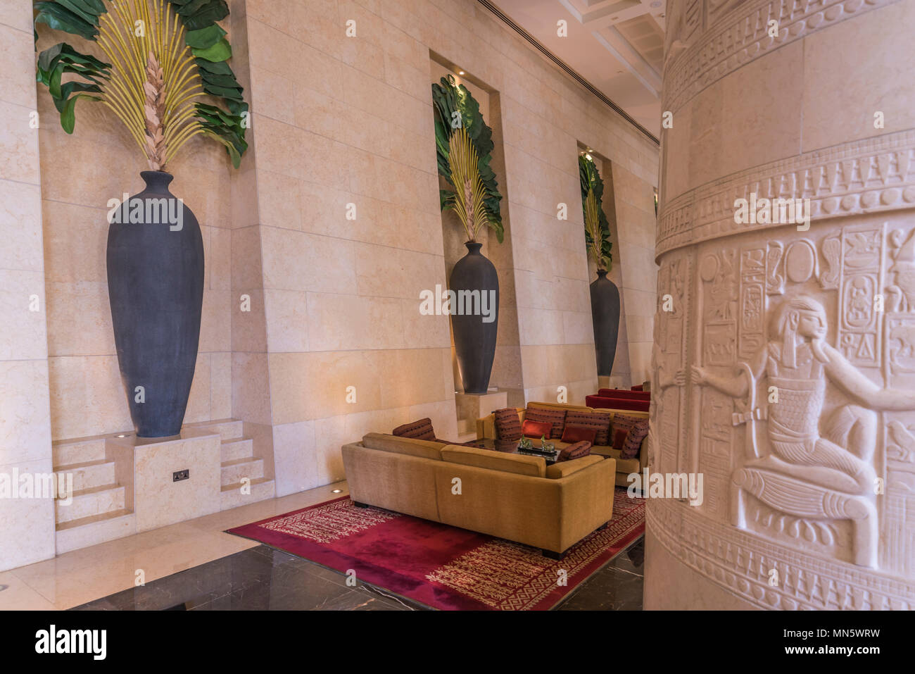 The interior furnishing of the Raffles Hotel in Dubai, UAE, Middle East - Stock Image