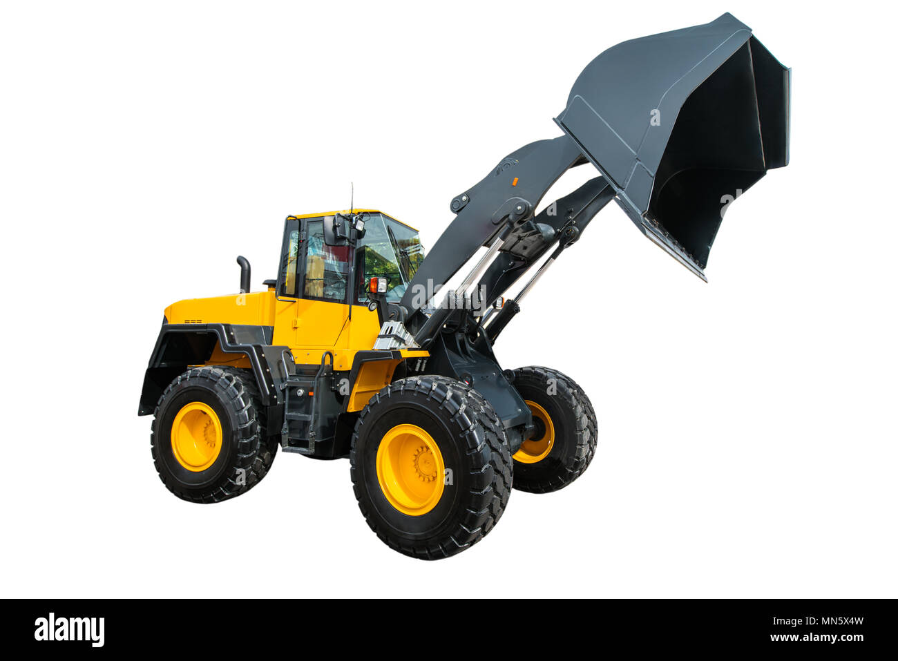 Loader or Bulldozer excavator, isolated on white background with clipping path. - Stock Image