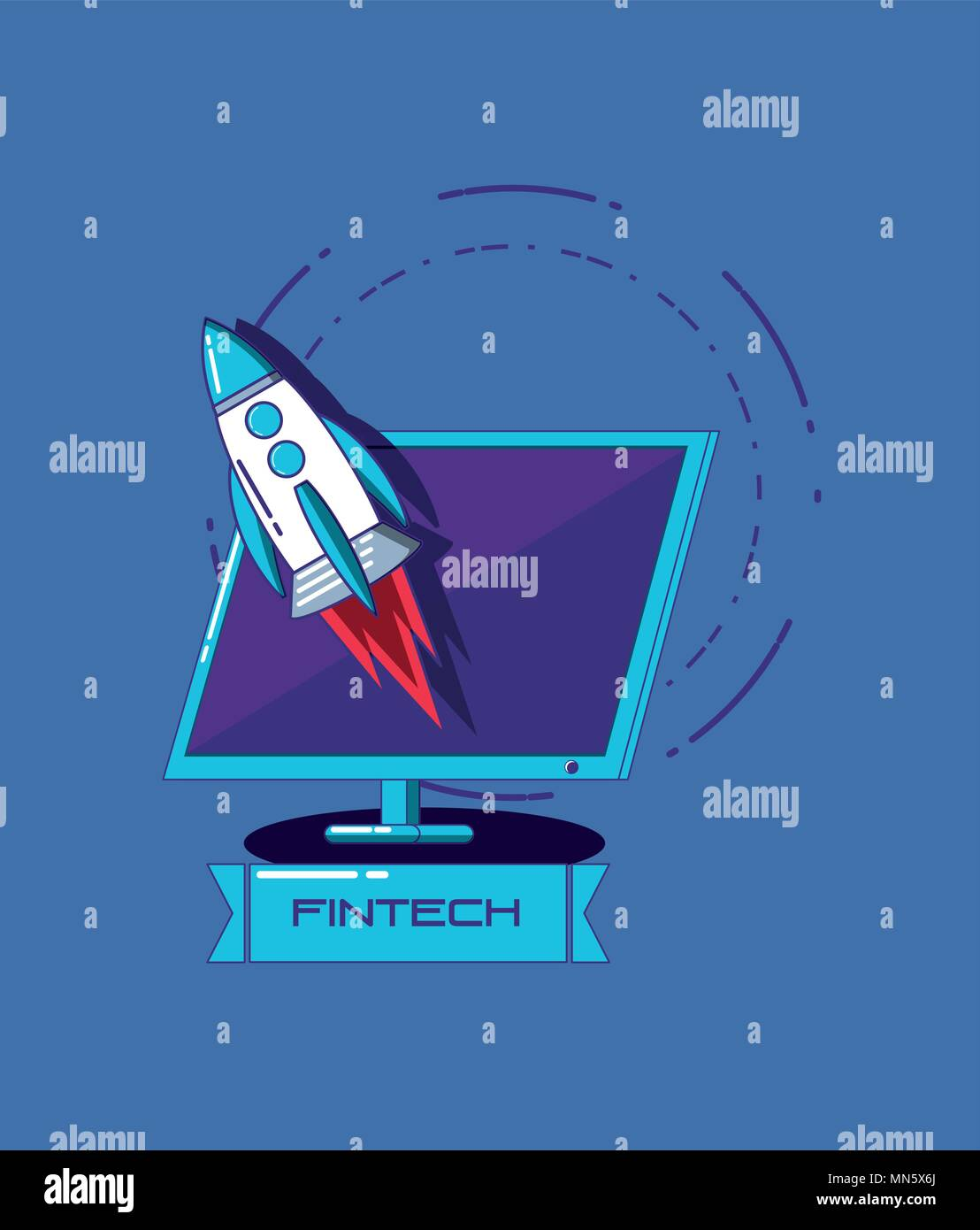 Fintech concept with computer and rocket over blue background, vector illustration - Stock Image