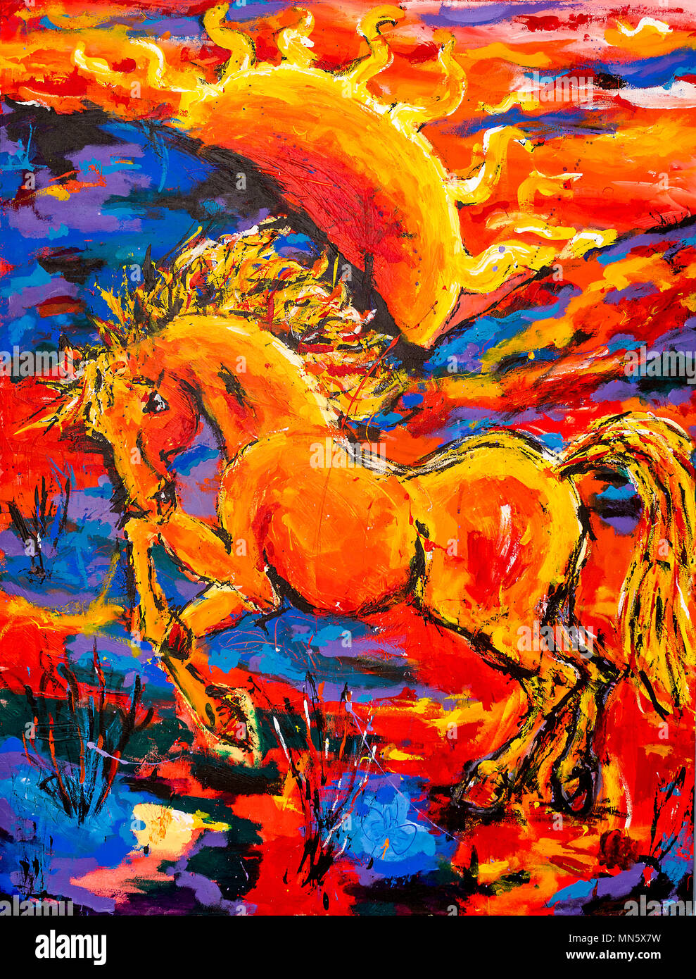 A Vibrant And Colourful Oil And Acrylic Abstract Painting Of Horse Rearing Up At Sunset On Canvas Painted With Wild And Free Brush Strokes Stock Photo Alamy