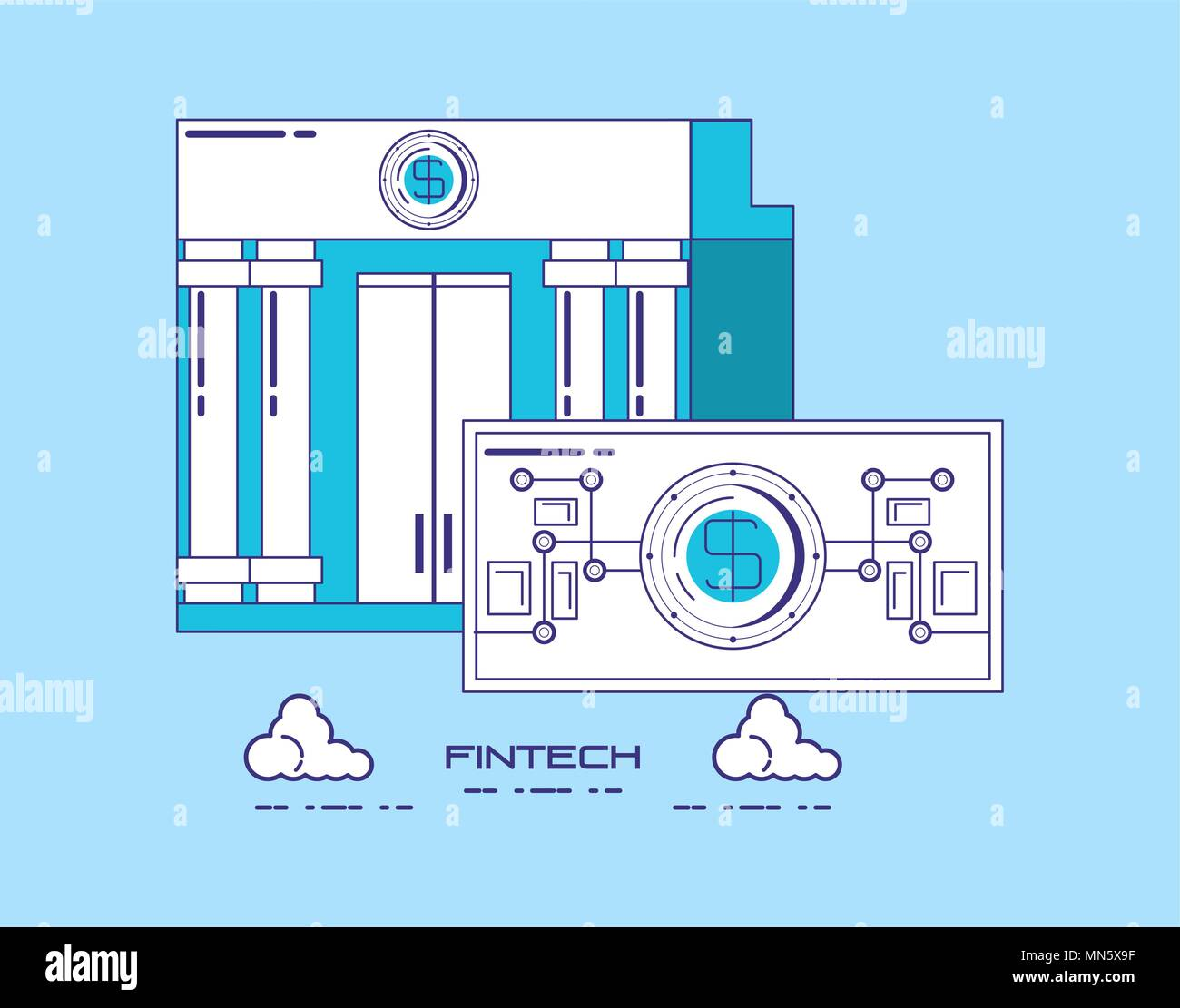 financial technology concept with bank building and money bill over blue background, vector illustration - Stock Image