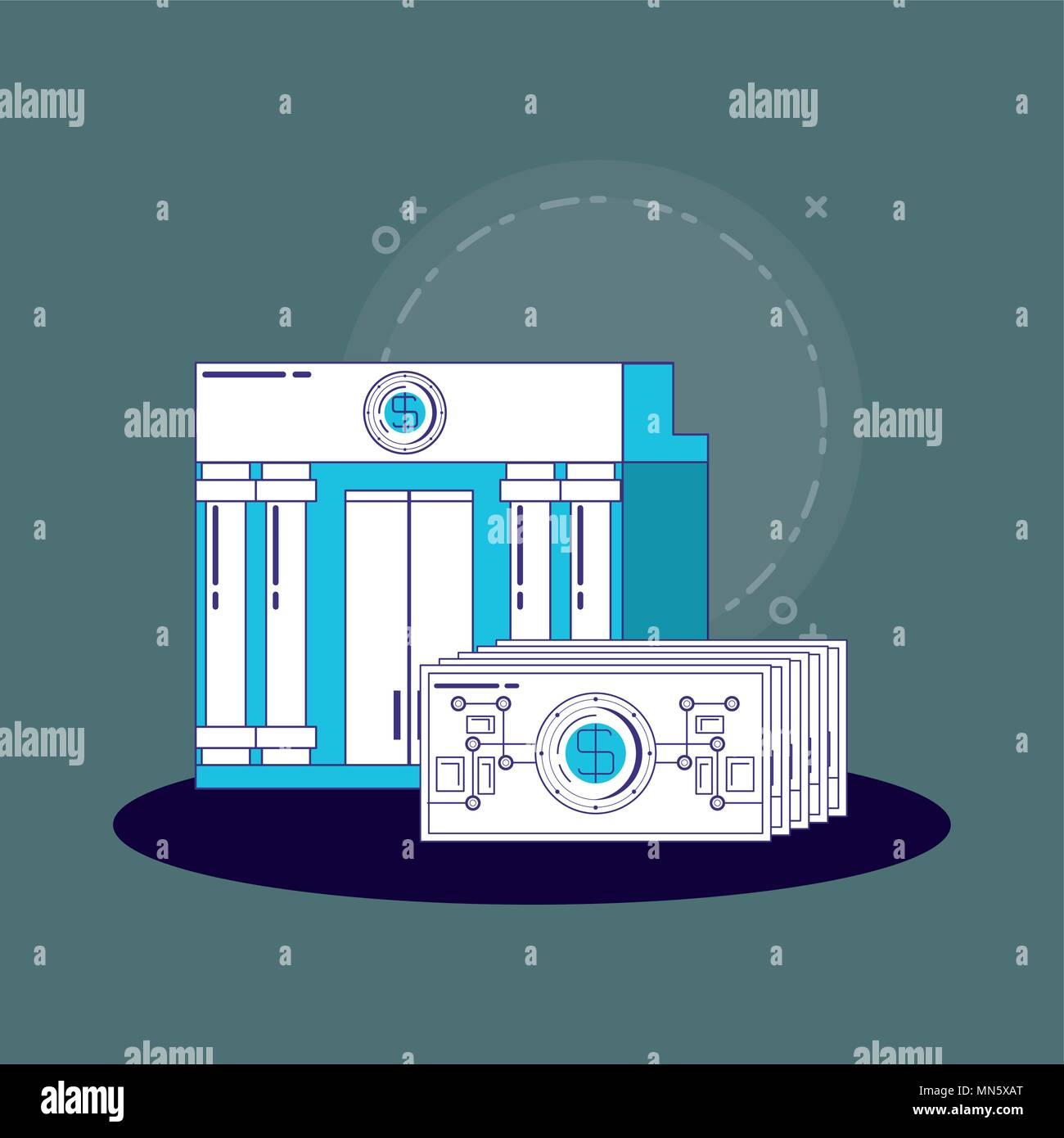 financial technology concept with bank building and money bills over blue background, vector illustration - Stock Image