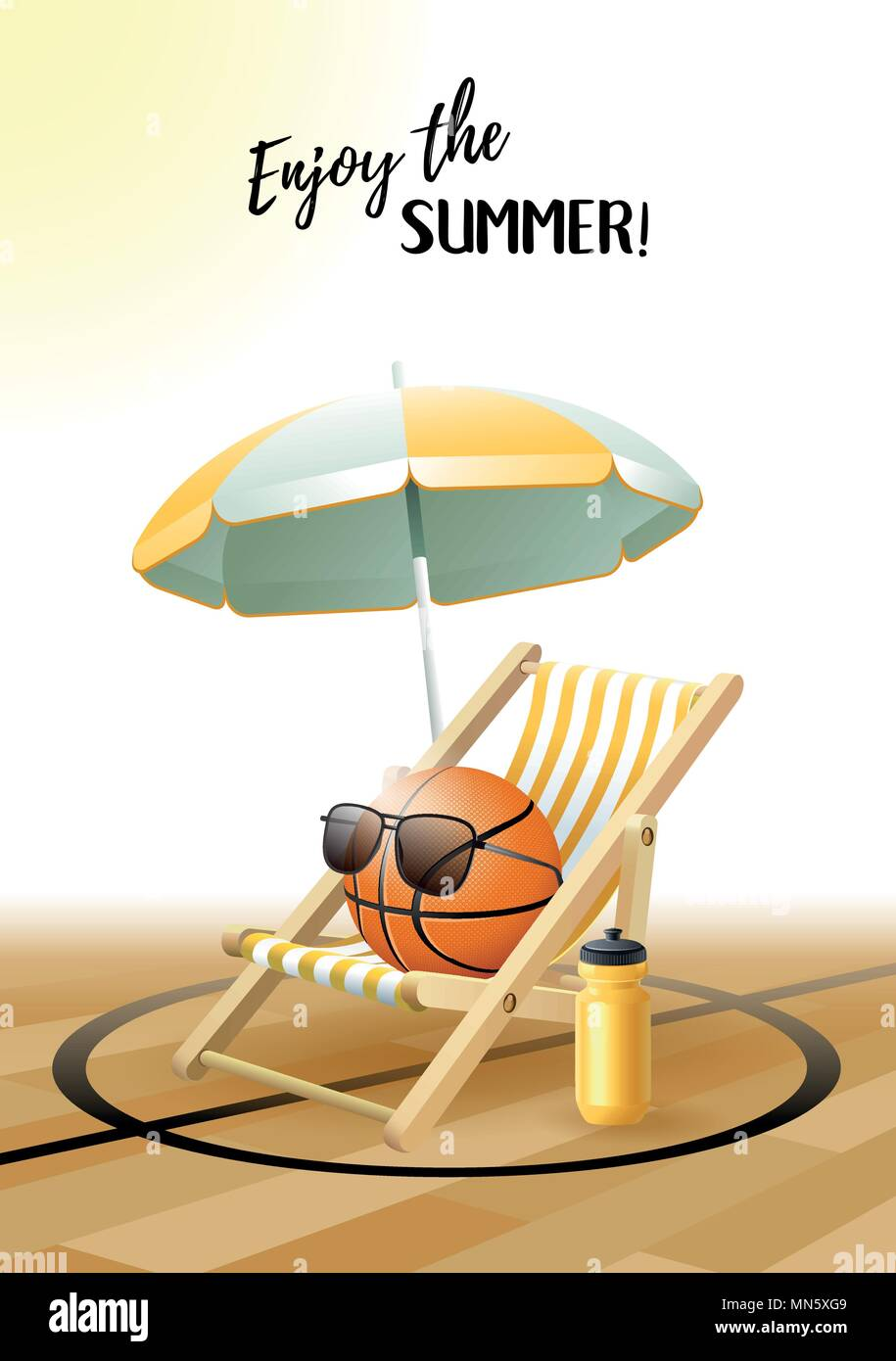 Enjoy the Summer! Sports card. Basketball ball with sunglasses, beach umbrella, deck chair and water bottle on the parquet floor. Vector illustration. - Stock Vector