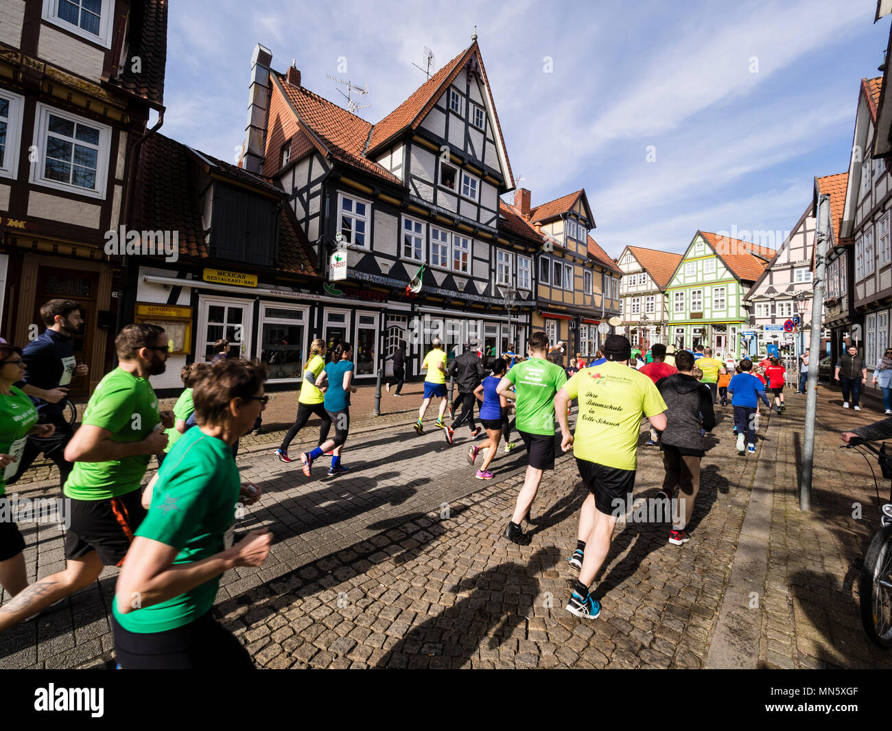 Running event 'Wasalauf', downtown Celle, along half-timbered houses, Celle, Germany Stock Photo