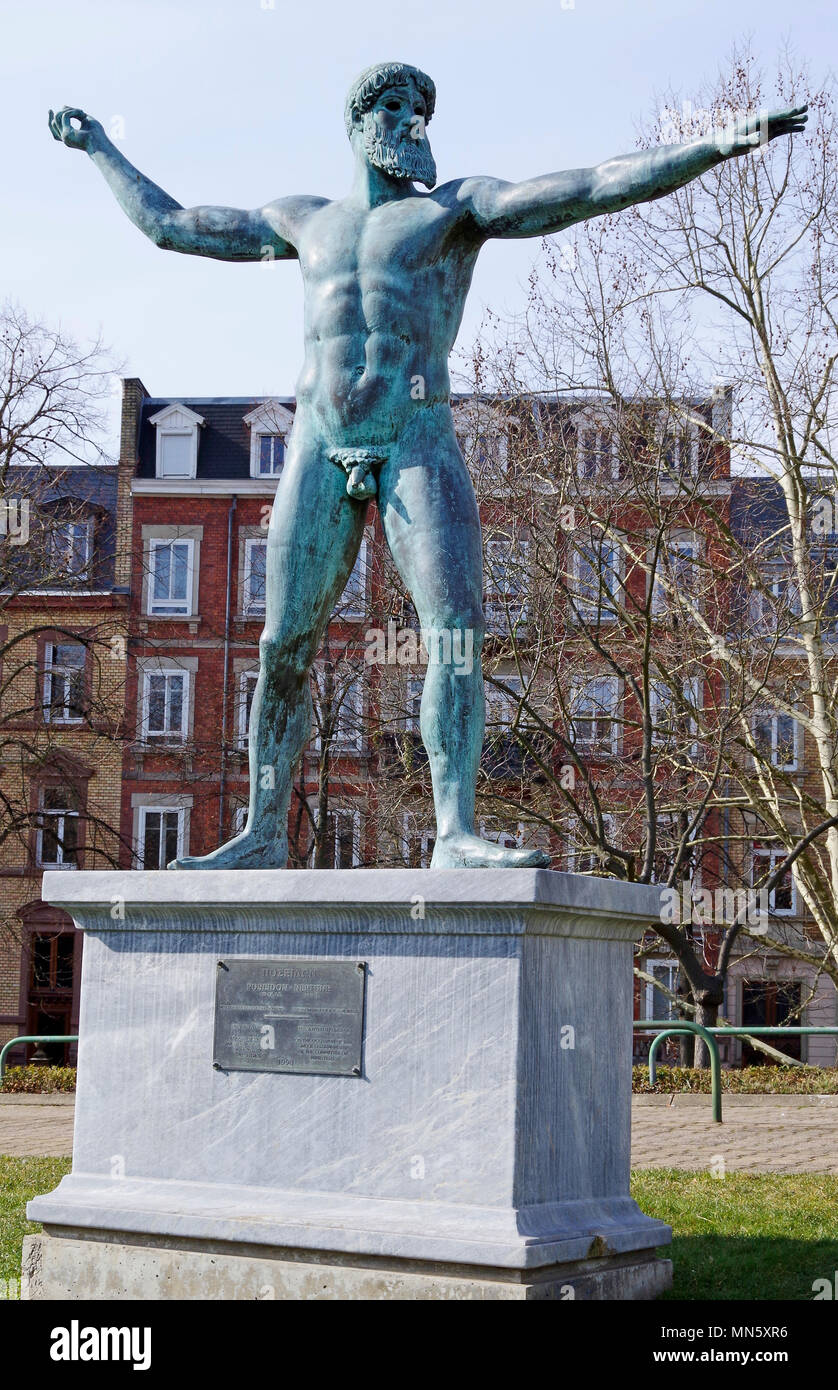 Bronze copy of the ancient statue of Poseidon of Artemision, in the grounds of the Palace of Europe, Strasbourg, France, - Stock Image