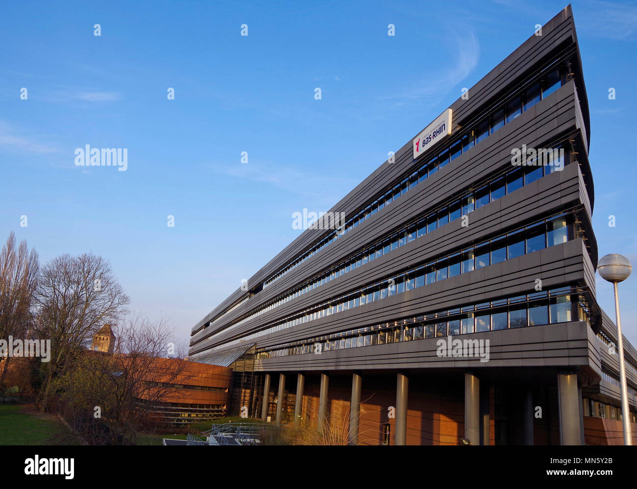 Hotel du Département, Administrative centre of Bas-Rhin, Lower Rhine Department,  in sleek black office building - Stock Image