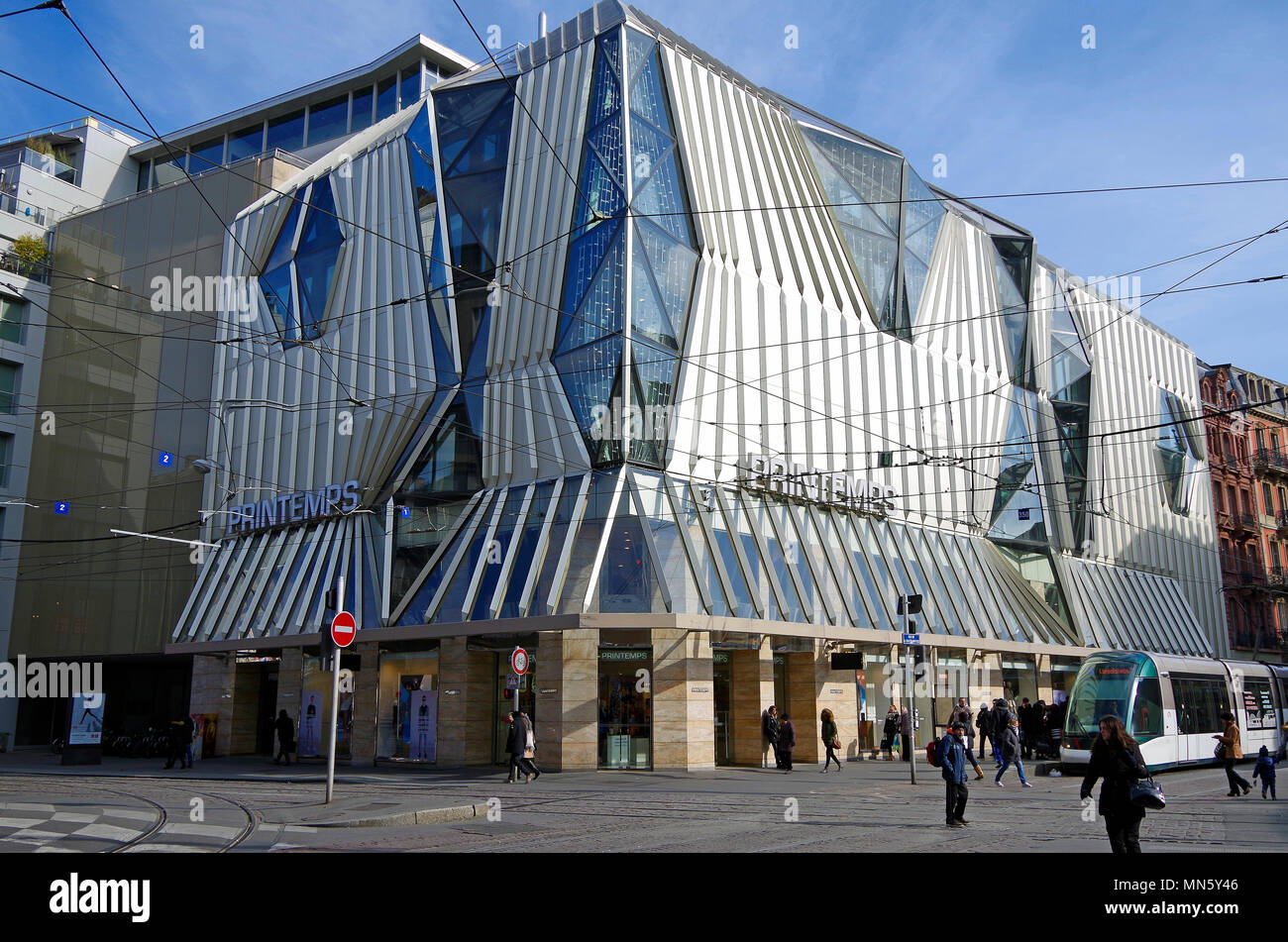 Dramatic architectural treatment of the exterior of the Printemps department store in Strasbourg, France - Stock Image