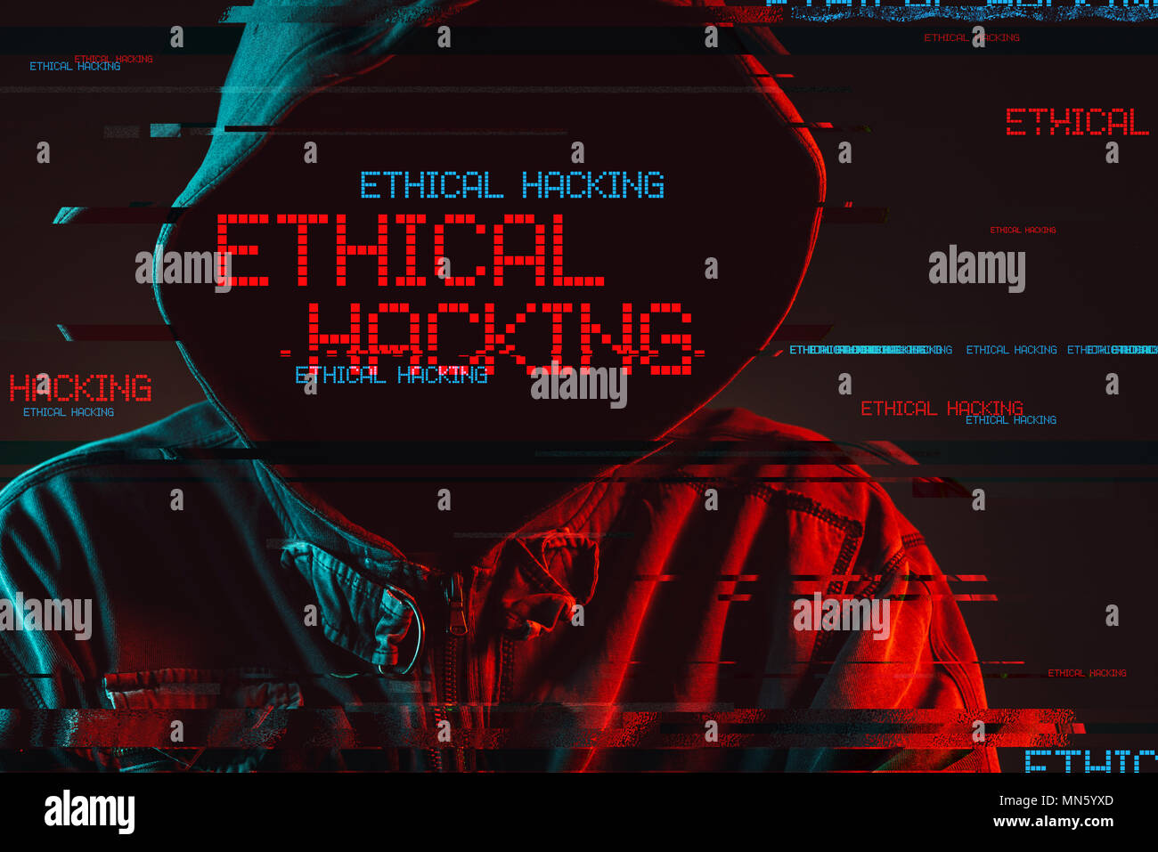 Ethical hacking concept with faceless hooded male person, low key red and blue lit image and digital glitch effect - Stock Image