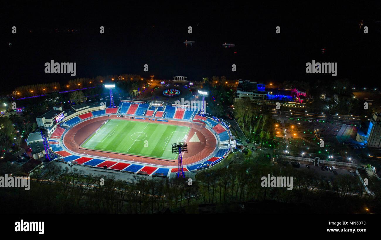Khabarovsk Lenin stadium top view, night city - Stock Image