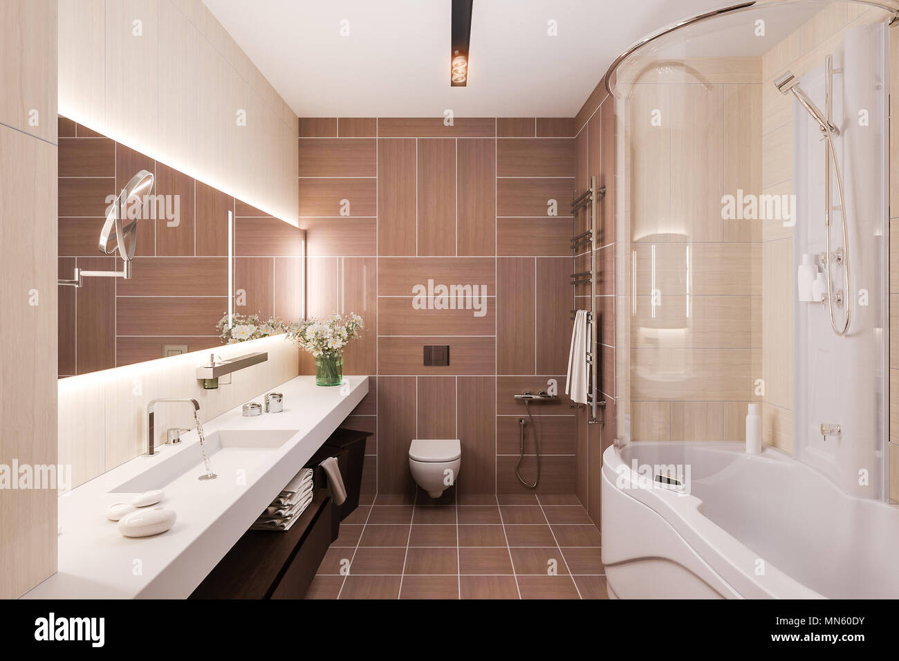 Beau Interior Design Of A Modern Bathroom With A Large Mirror. 3d Illustration  In Warm Colors. 3d Render In High Resolution For Printing.