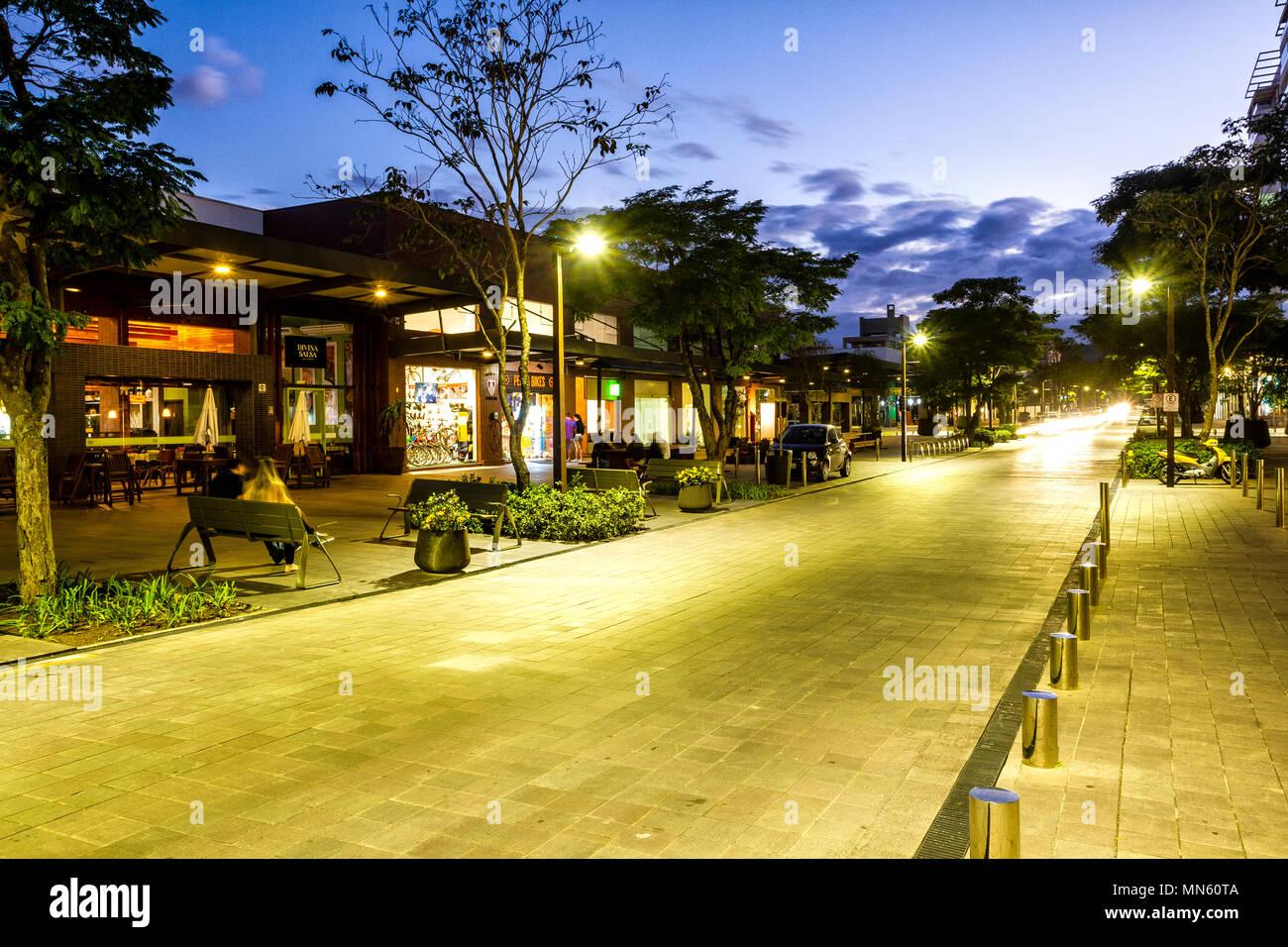 Street in Passeio Pedra Branca neighborhood at evening. Palhoca, Santa Catarina, Brazil. - Stock Image