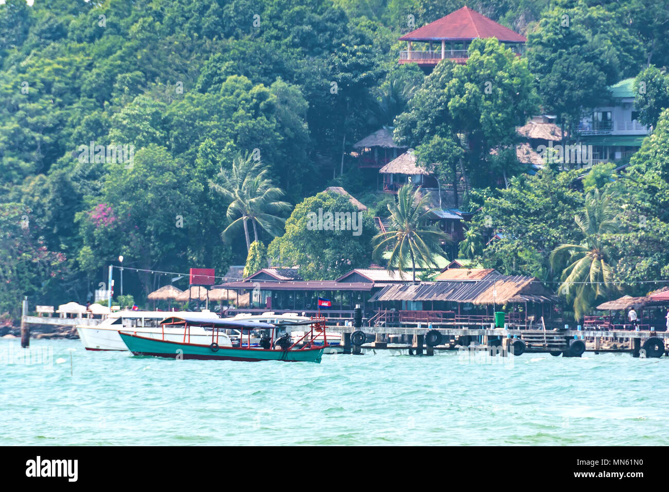 Beaches on the Cambodian coast and lush vegetation in the vicinity of the city of Sihanoukville. - Stock Image