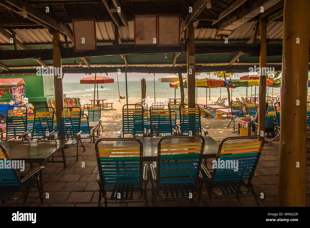 facilities of a beach bar and in the background the sea on the ochheuteal beaches near the city of Sihanoukville. Cambodia - Stock Image