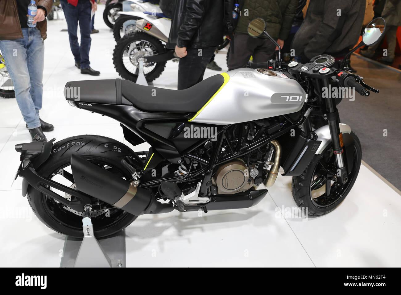 ISTANBUL, TURKEY - FEBRUARY 25, 2018: Husqvarna 701 on display at Motobike Istanbul in Istanbul Exhibition Center - Stock Image