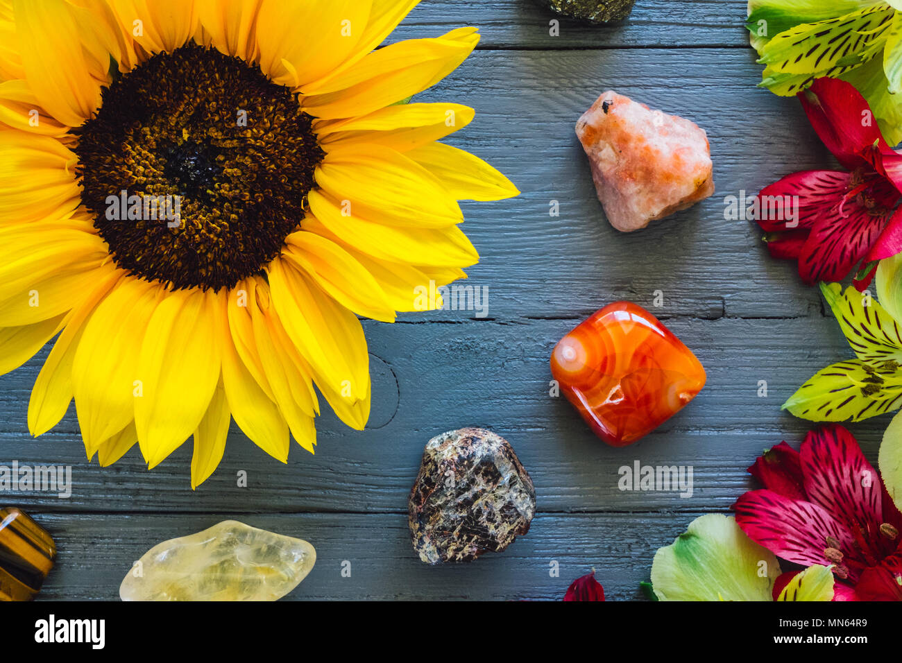 Flowers and Stones of Summer, including Sunstone, Carnelian, Garnet, Citrine, Tiger's Eye and Pyrite Stock Photo