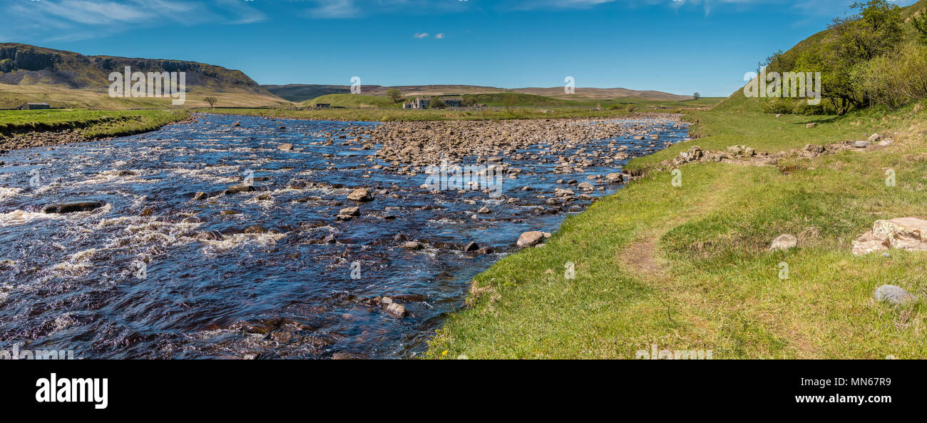 North Pennines panoramic landscape, the confluence of the river Tees and Harwood Beck on the Pennine Way, Upper Teesdale, UK - Stock Image