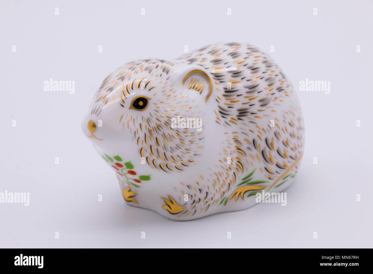 Royal Crown Derby bone china paperweight of a vole uk - Stock Image