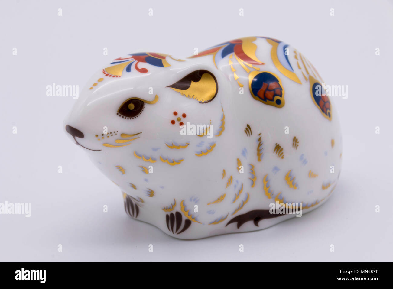 Royal Crown Derby bone china paperweight of a bank vole uk - Stock Image