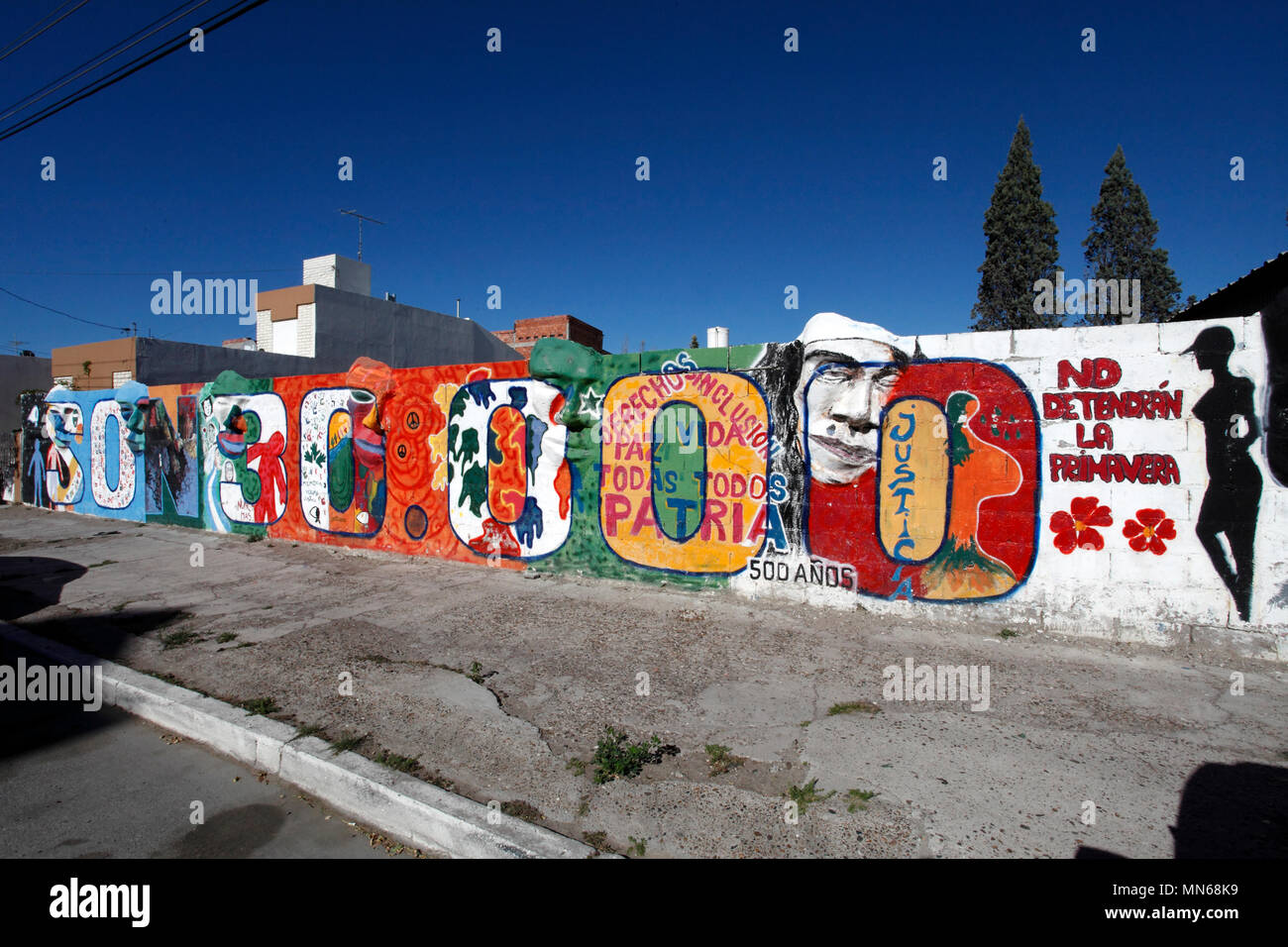 They will not have spring. Wall mural in memory of the disappeared from the regime of the Argentine military. Desaparecidos. The Vanished. 1976-1983.  - Stock Image
