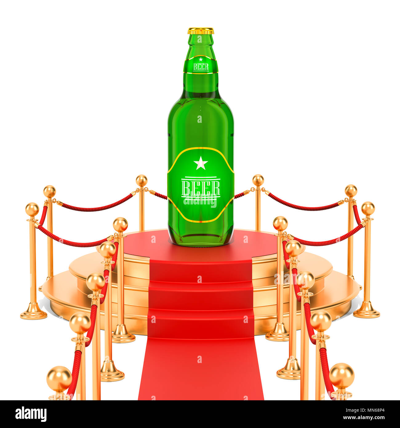 Podium with glass beer bottle, presentation of new beer concept. 3D rendering - Stock Image
