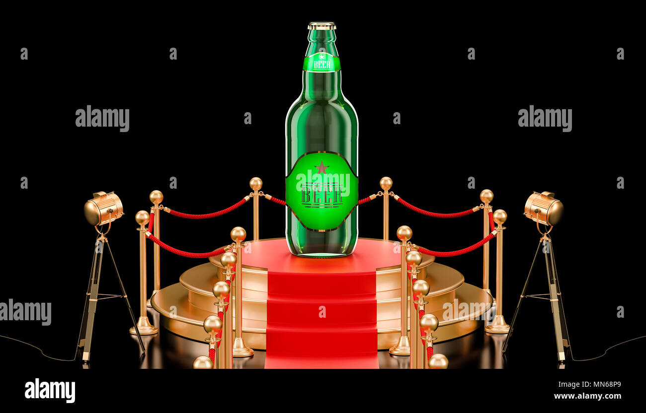 Podium with glass beer bottle, presentation of new beer concept. 3D rendering isolated on black background - Stock Image