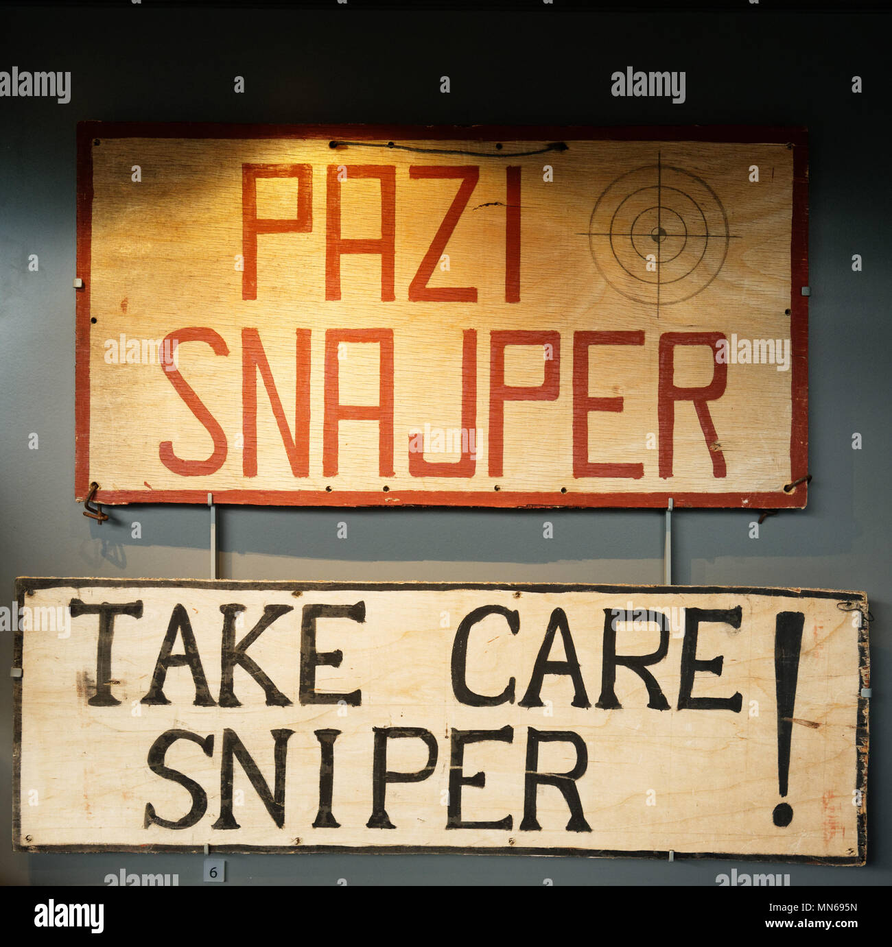 A 'Take Care - Sniper' sign from Sniper Alley in Sarajevo during the Bosnian Wars - Stock Image