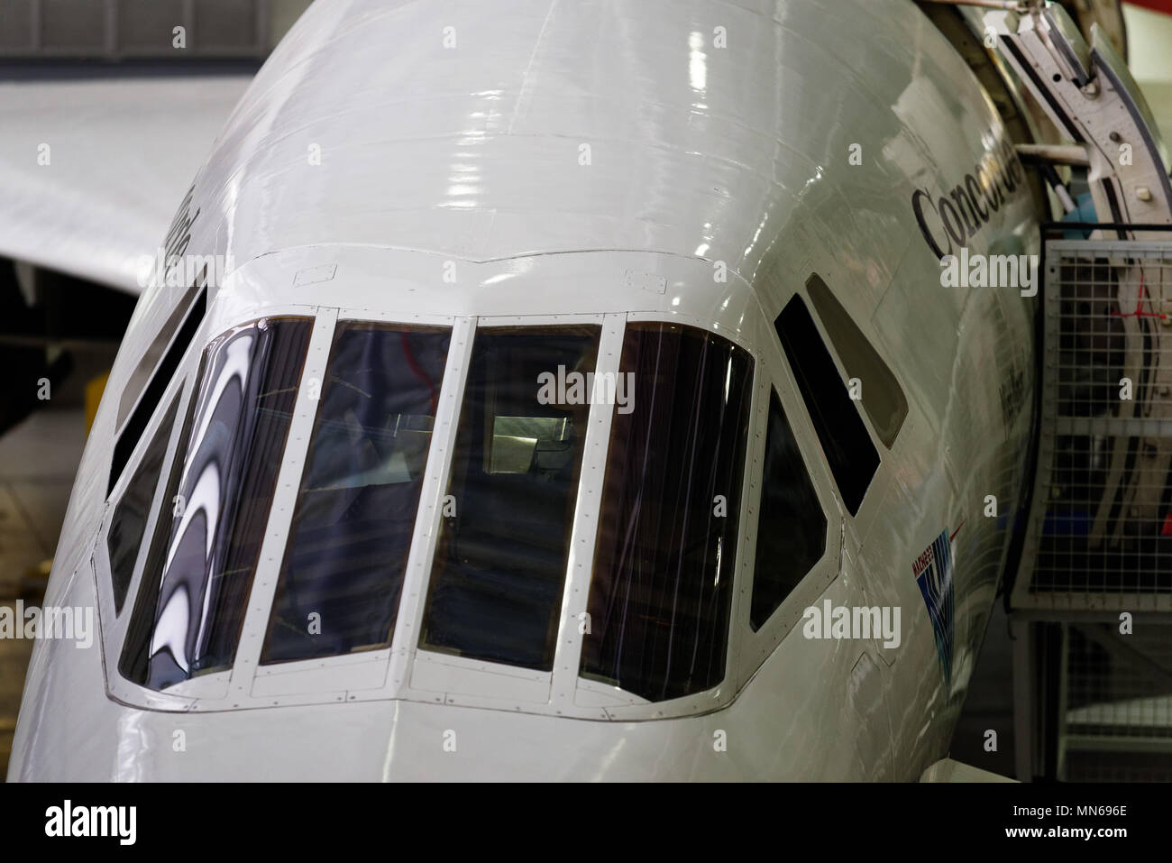 Close up of Concorde's famous cockpit canopy - Stock Image