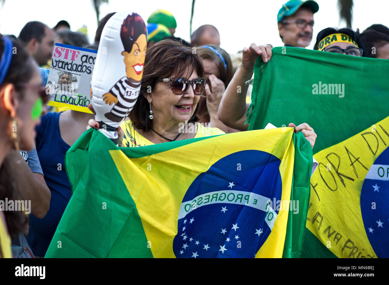 Rio de Janeiro - April 17, 2016: Demonstrators take part in a protest demanding the resignation of Brazilian President Dilma Rousseff - Stock Image