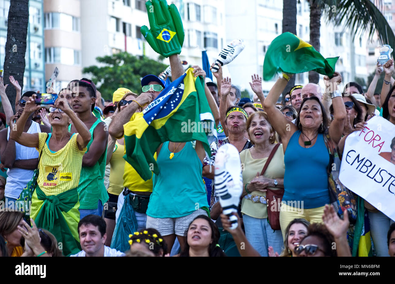 Brazil - April 17, 2016: Demonstrators take part in a protest demanding the impeachment of President Dilma and the arrest of former President Lula - Stock Image